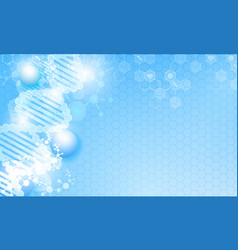 dna line and hexagon cells vector image