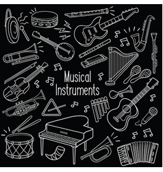 doodle musical instruments in chalkboard vector image