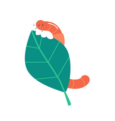 earth worm or caterpillar eating leaf funny soil vector image