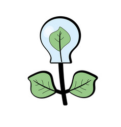 Energy bulb plant with leaves to ecology care vector