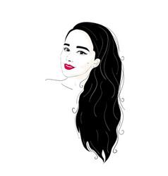Fashion of a brunette girl portrait vector