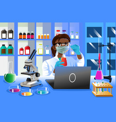 Female scientist working in the lab vector