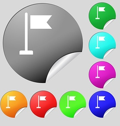 Flag icon sign Set of eight multi-colored round vector