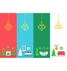 Flat design christmas interior decor set vector