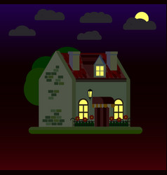 flat house at night one-storey vector image