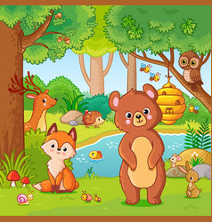 fox and bear in forest vector image
