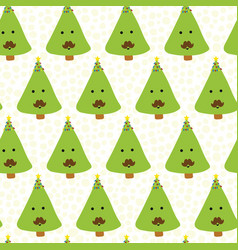 funny christmas trees with mustache pattern vector image