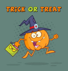 funny witch pumpkin cartoon character running vector image
