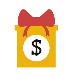 gift box with money icon image vector image