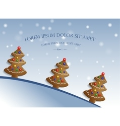 Ginger trees on snow background vector