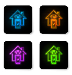 glowing neon smart home - remote control system vector image