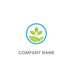 green leaf people organic logo vector image