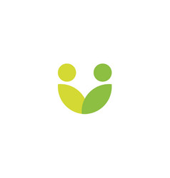 Green leaves logo abstract stylized people icon vector