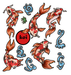 japanese traditional carp koi for embroidery vector image