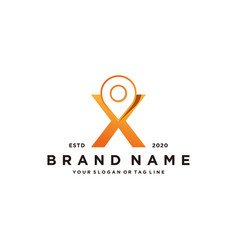 Letter x map pin logo design vector