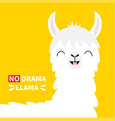 Llama alpaca head face no drama tooth smile cute vector