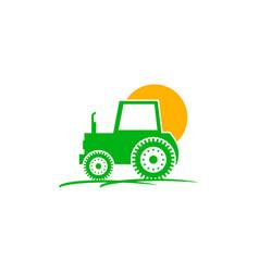 Logo design of tractor farm crop land soil farm vector