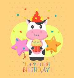 Lovely first birthday card design vector