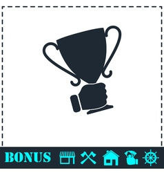 Male hand holding winner cup icon flat vector