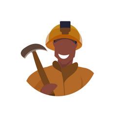 Male miner holding pick axe face avatar happy man vector