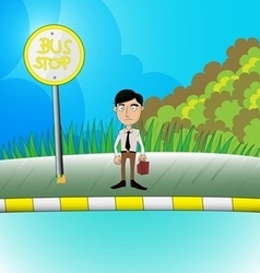 man waiting the bus vector image