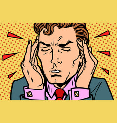 Man with severe headache vector
