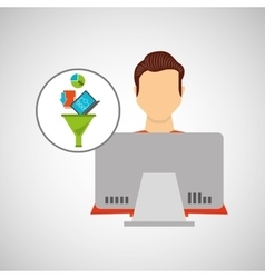 man working laptop data analytics vector image