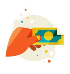Mans hand holding a banknote vector