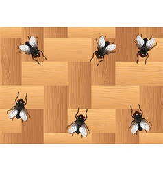 Many flies on the wooden floor vector