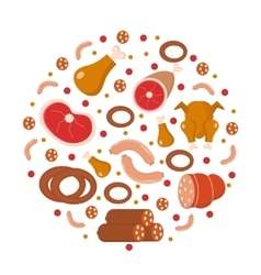 Meat and sausages icon set in round shape flat vector