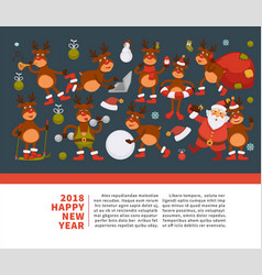 merry christmas happy new year 2018 poster vector image