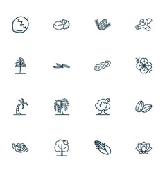 Nature icons line style set with willow hazel nut vector