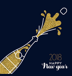 new year 2018 gold glitter champagne party bottle vector image