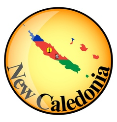 orange button with the image maps of New Caledonia vector image vector image