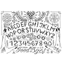 Ouija spiritual board design with alphabet magic vector