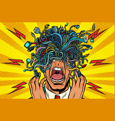 Panic people wire adapter cables pop art vector