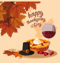Pilgrim hat with pie and cup wine vector