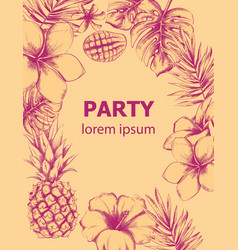 pineapple and tropic flowers summer poster line vector image