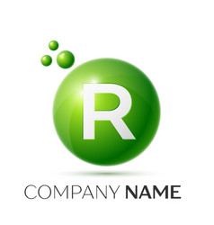 R letter splash green dots and bubbles number vector