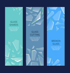 realistic shards of broken glass banner vecrtical vector image vector image