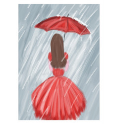 Red girl with umbrella in the rain vector