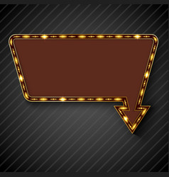 retro arrow with space for text black background vector image