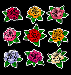 Roses fashion patches and stickers in vector