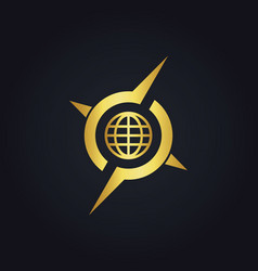 Round globe arrow compass gold logo vector