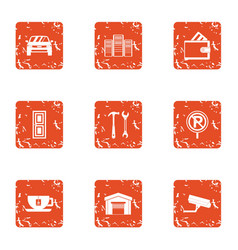 Safe parking icons set grunge style vector