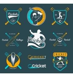 Set of badges cricket vector