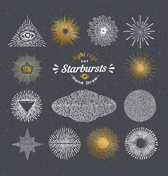 Set of handmade sunburst design elements vector