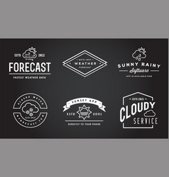 set of weather icons and logotypes of business vector image