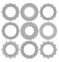 set round frames fancy floral pattern vector image