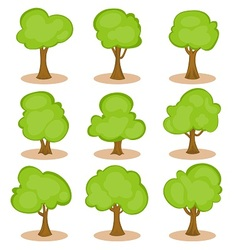 set trees in hand-drawn style vector image